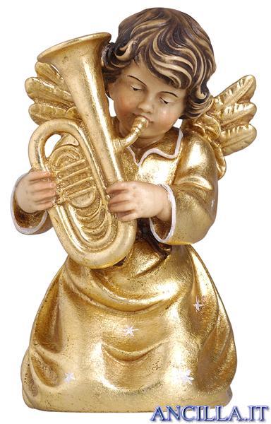 Angelo campana inginocchiato con contrabbasso