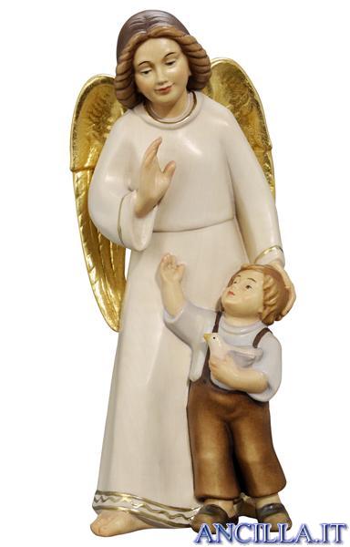 Angelo custode con bambino moderno dipinto a olio