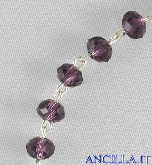 Bracciale decina in cristallo ovale 3x2 mm ametista