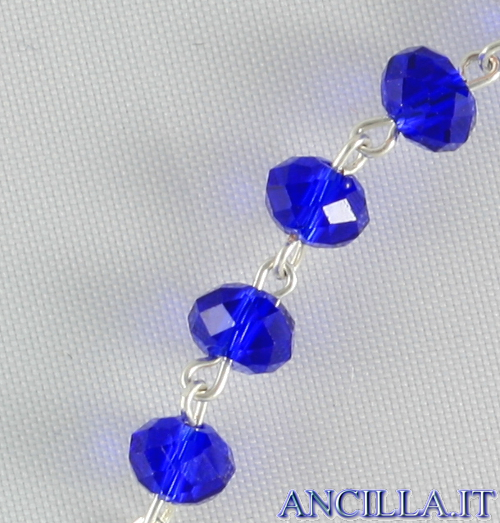 Bracciale decina in cristallo ovale 3x2 mm blu
