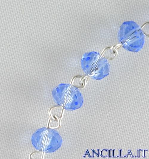 Bracciale decina in cristallo ovale 3x2 mm celeste
