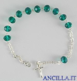 Bracciale decina in cristallo ovale 6x8 mm verde smeraldo