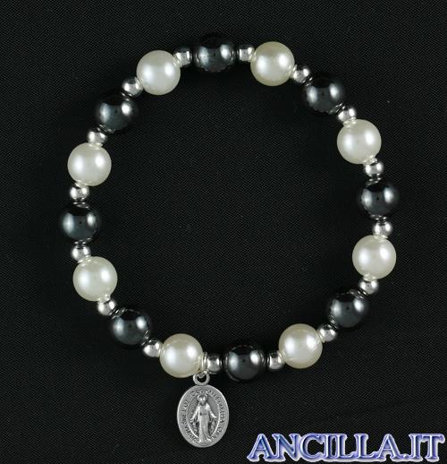 Bracciale elastico ematite e perla bianca