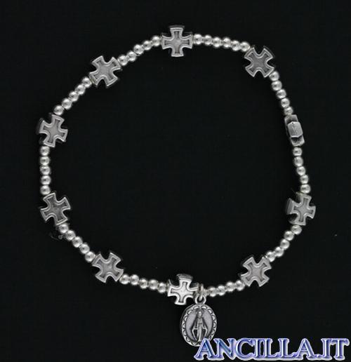 Bracciale rosario elastico medaglia miracolosa e croci argentate