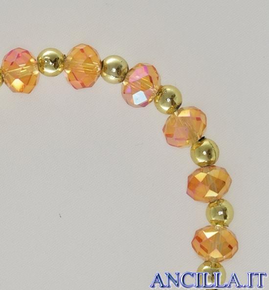 Bracciale elastico mezzo cristallo ambra