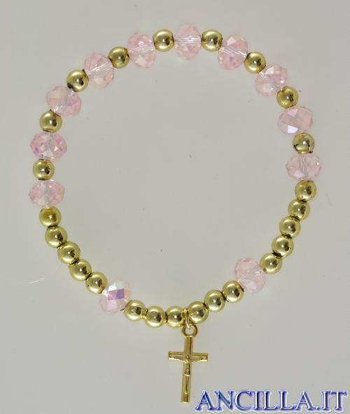 Bracciale elastico mezzo cristallo rosa