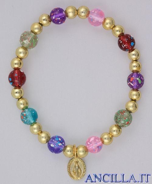 Bracciale elastico multicolore Madonna miracolosa e Santa Teresa