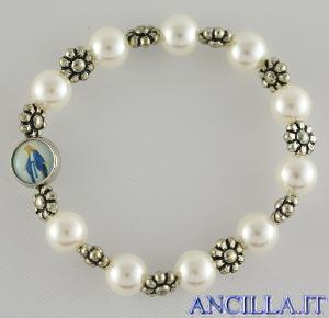 Bracciale elastico perla e fiore