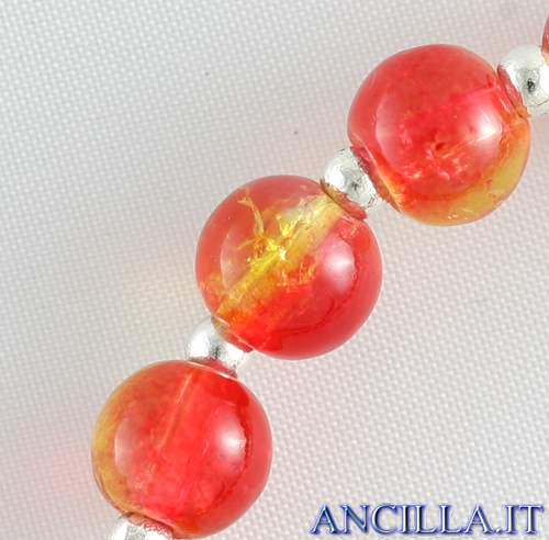 Bracciale elastico perle vetro bicolore rosso/giallo