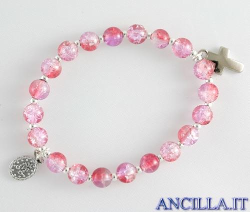 Bracciale elastico perle vetro bicolore rosso/rosa