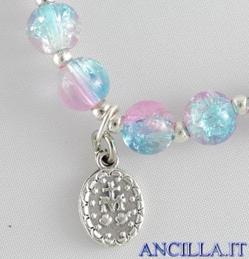 Bracciale elastico perle vetro bicolore turchese/rosa