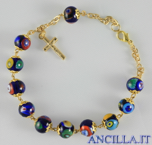 Bracciale mosaico veneziano blu e oro