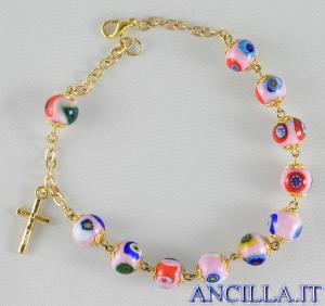 Bracciale mosaico veneziano rosa e oro