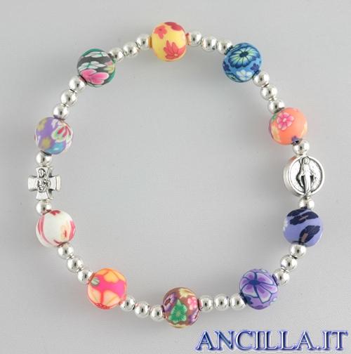 Bracciale multicolore in resina gommosa elastico