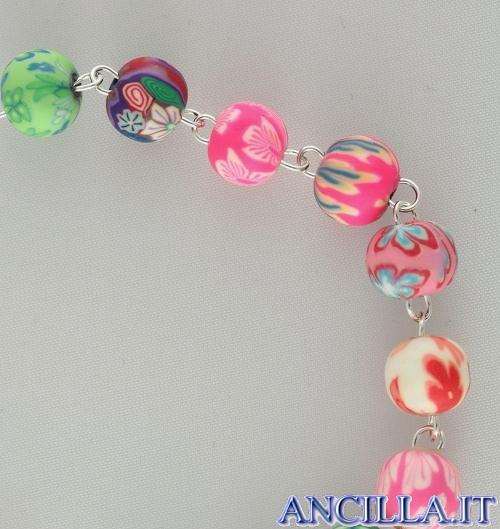 Bracciale multicolore in resina gommosa rilegato