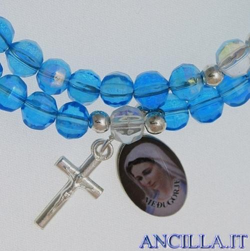 Bracciale rosario Medjugorje molla mezzo cristallo azzurro