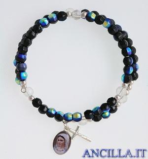 Bracciale rosario Medjugorje molla mezzo cristallo nero