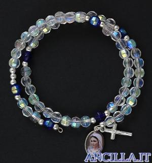 Bracciale rosario Medjugorje molla mezzo cristallo trasparente
