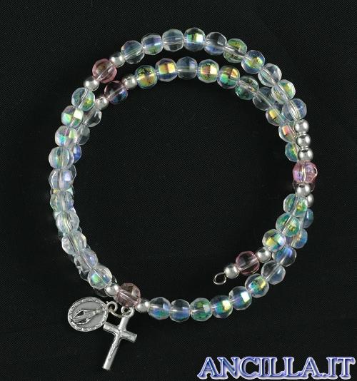 Bracciale rosario molla mezzo cristallo trasparente con medaglia miracolosa e croce