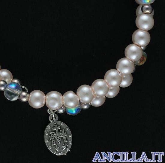 Bracciale rosario molla perla bianca