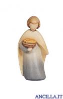 Bambino con cesto di pane Leonardo serie 10 cm Colorato