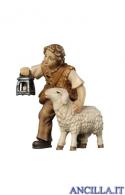 Bambino con pecora e lanterna Mahlknecht serie 9,5 cm