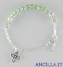 Bracciale decina grani in cristallo verde accopigliati