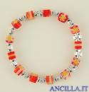 Bracciale elastico imitazione murrina arancio