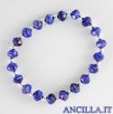 Bracciale elastico mezzo cristallo blu variegato e argento
