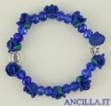 Bracciale elastico rosellina resina blu