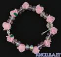 Bracciale elastico rosellina resina rosa