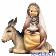 Bambina con colombe su asino Cometa serie 16 cm