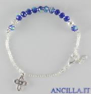 Bracciale decina grani in cristallo blu accopigliati
