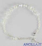 Bracciale decina in cristallo ovale 6x8 mm bianco