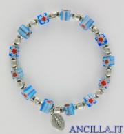 Bracciale elastico imitazione murrina azzurro