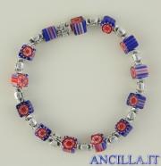 Bracciale elastico imitazione murrina blu