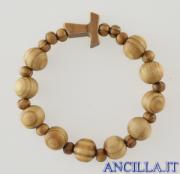Bracciale elastico in legno d'ulivo con tau