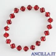 Bracciale elastico mezzo cristallo rosso e argento