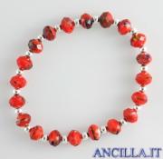 Bracciale elastico mezzo cristallo rosso variegato e argento
