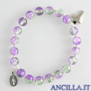 Bracciale elastico perle vetro bicolore verde/viola