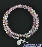 Bracciale rosario molla mezzo cristallo rosa con croce e medaglia miracolosa