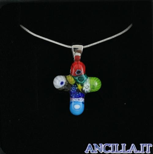 Collana con croce piccola stampo murrina multicolore