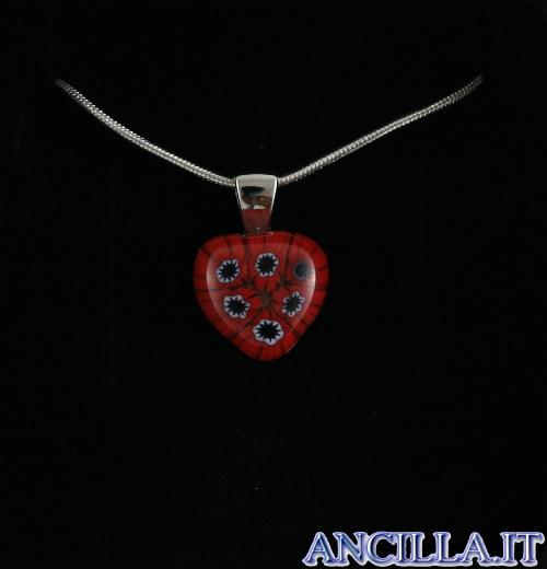 Collana con cuore piccolo stampo murrina rosso