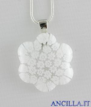 Collana con fiore stampo murrina bianco