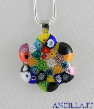 Collana con fiore stampo murrina multicolore