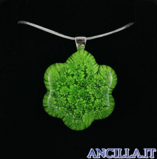 Collana con fiore stampo murrina verde