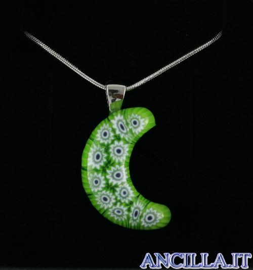 Collana con luna stampo murrina verde