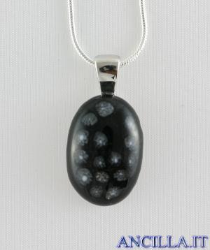 Collana con ovale stampo murrina nero