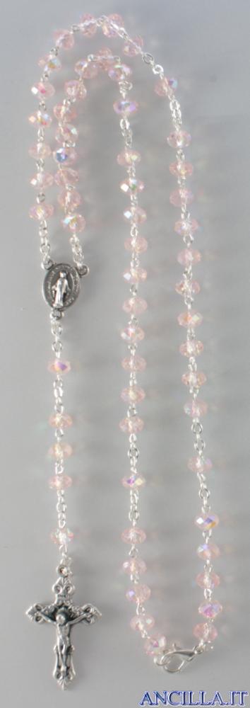 Collana Rosario 5 decine cristallo sfaccettato rosa