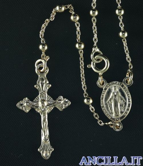 Collana Rosario argento 925°/°° placcato oro 5 decine croce pendente